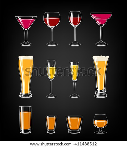 various glasses on black background. glasses for cocktails, wine, vodka, beer and water. everything for the bar and pub. - stock vector