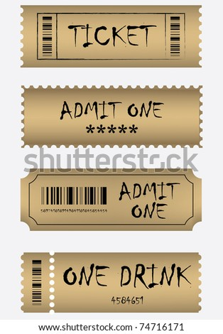 Various golden ticket set - stock vector