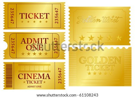 Various golden ticket set, vector illustration - stock vector
