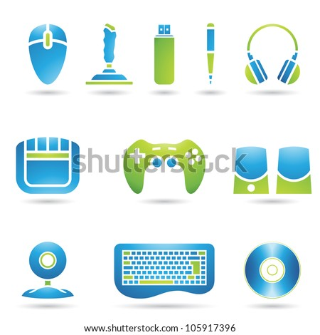Various graphic design style PC accessories - stock vector