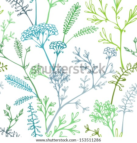 Various grass and floral elements for design. Seamless texture. Nature template. - stock vector