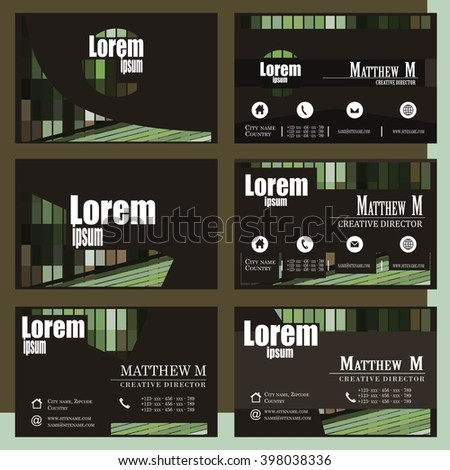 Various green stylish business card vector