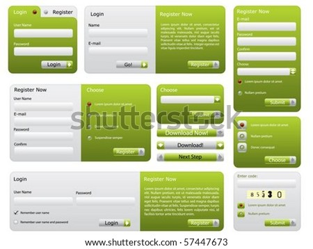 Various green website form set - stock vector