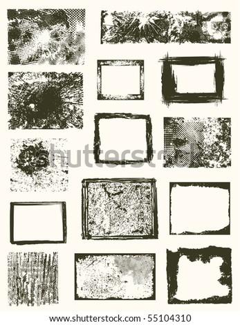 Various grunge frames vector - stock vector