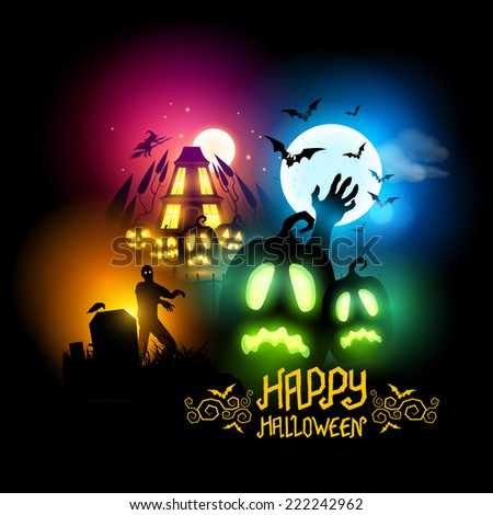 Various Halloween night time scenes including zombies, Jack O Lanterns and a haunted house! Vector illustration. - stock vector