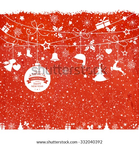 Various hanging Christmas ornaments such as Christmas bauble, santa hat, reindeer, angel, heart, present and Christmas tree with ribbons with snowfall on a red textured backdrop. - stock vector