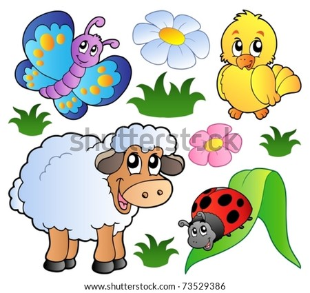 Various happy spring animals - vector illustration. - stock vector