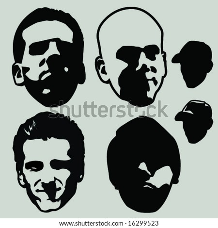 various heads - stock vector