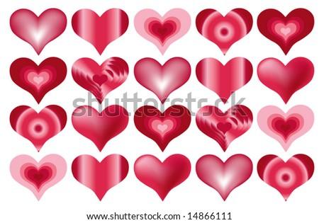Various Heart Designs - stock vector