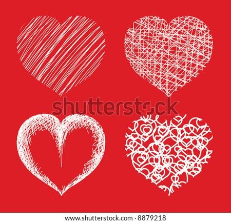 Various hearts - stock vector