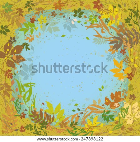 Various herbs and leaves flying around. Autumn texture. - stock vector