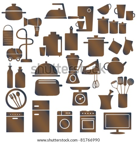 Various household appliances and kitchen utensils - stock vector