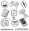 various icon in doodle style - stock vector