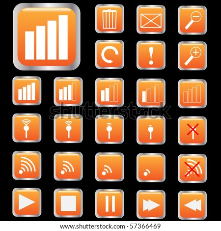 Various icon on orange buttons - stock vector