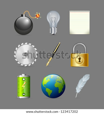 Various icons set isolated on grey background - stock vector