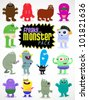 Various Illustrations of freaky and fun monster cartoon characters in vector format - stock vector