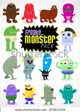 Various Illustrations of freaky and fun monster cartoon characters in vector format