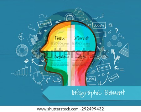 Various infographic elements with colorful illustration of human head for idea concept on blue background. - stock vector