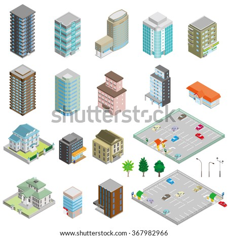 Various isometric buildings, cars, trees and street lights.