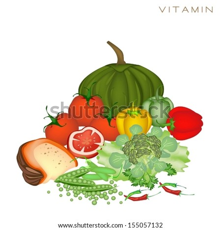 Various Kind of Vitamin Foods to Improve Nutrient Intake and Health Benefits, Vitamin Is One of The Main Types of Nutrients.  - stock vector