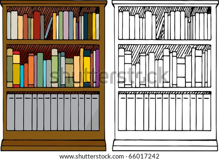 Various kinds of blank books placed in a 3-tier wooden bookshelf with color and black-only versions. - stock vector