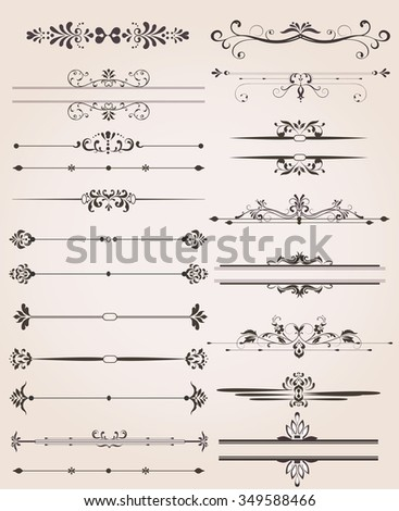 Various Label Border Elements with Ornate Elegant Abstract Floral Design. Vector Illustration.