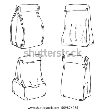 Various Lunch Bags Boxes Sketch Stock Vector 559876285