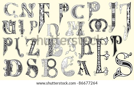 Various medieval capital letters in editable vector file