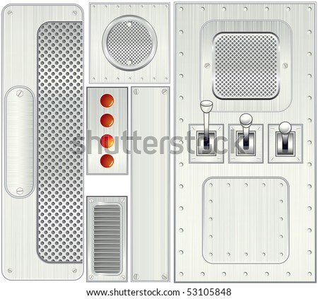Various metallic objects: panels,levers,plates,grates -separated vector objects