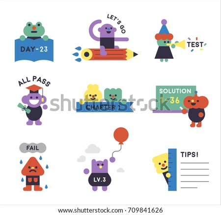 Various monster characters representing school life vector illustration flat design