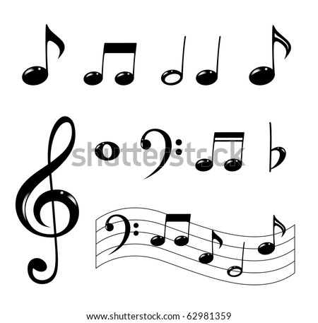 Various musical notes in black - stock vector