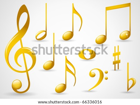 Various musical notes in gold - stock vector