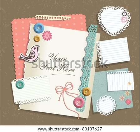 various note papers & scrapbook elements - stock vector