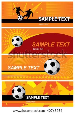 Various orange soccer background. Vector. - stock vector