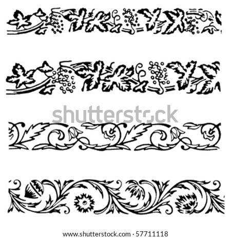 Various ornamental borders and motives illustrations
