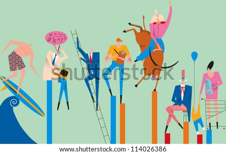 Various people engaged in different activities and occupations - stock vector