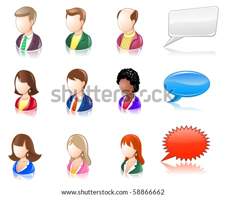 Various People Glossy IconSet - stock vector