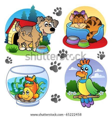 Various pets images 1 - vector illustration. - stock vector
