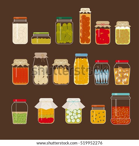 Various pickle bottles vector illustration flat design