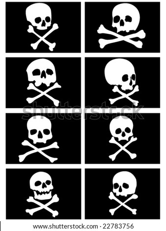 various pirate flags with skulls and crossbones vector illustration - stock vector