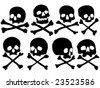 various pirate skulls and crossbones vector illustration - stock vector