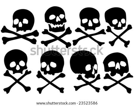 various pirate skulls and crossbones vector illustration - stock vector