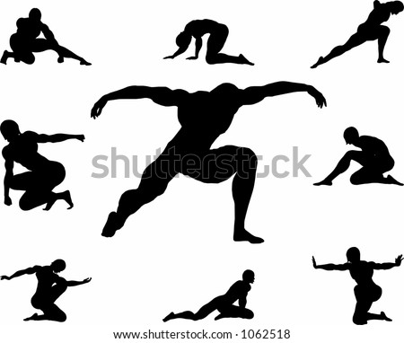 various poses of a man kneeing