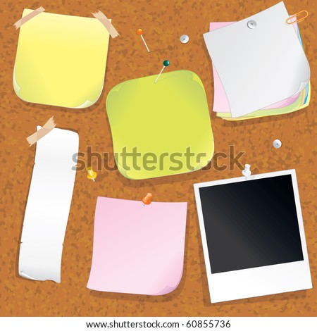 Various Post notes on Cork Message Board - vector illustration - to see similar - please VISIT AT MY GALLERY - stock vector