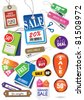 various price tags & labels - stock photo