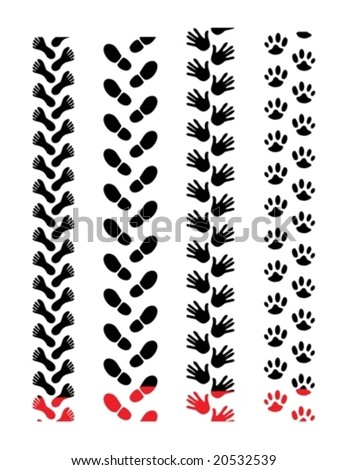 various prints such as footprints and hand prints looking like tire tracks prints