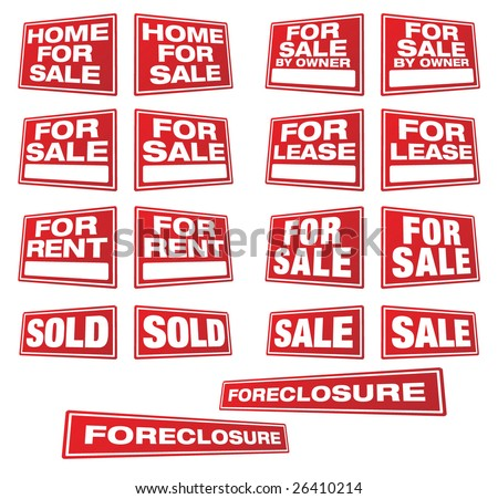 Various Real Estate and Business Signs in Right and Left Perspective. Please see my variations on this theme - other vector Real Estate signs. - stock vector