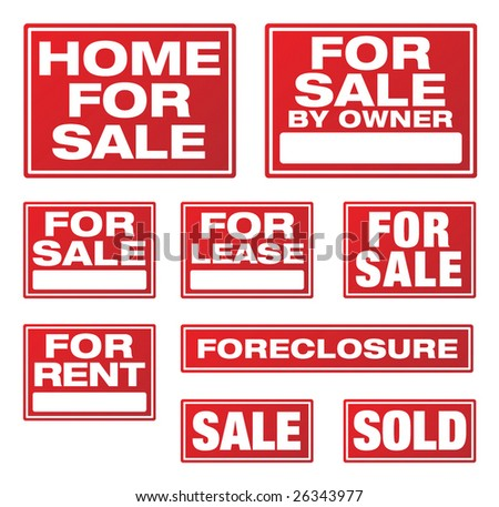 Various Real Estate and Business Signs. Please see my variations on this theme - other vector Real Estate signs. - stock vector