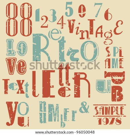 Various retro letters and numbers - stock vector