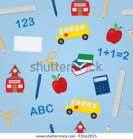 Various school objects in a seamless pattern - stock vector